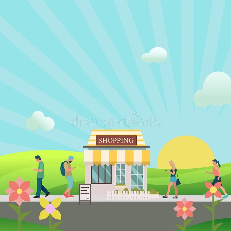 Nature scene with store front and people walking on street.People walk on public park. On morning vector illustration