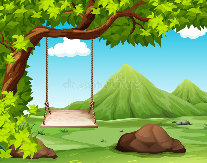 Nature scene with swing on the tree vector illustration