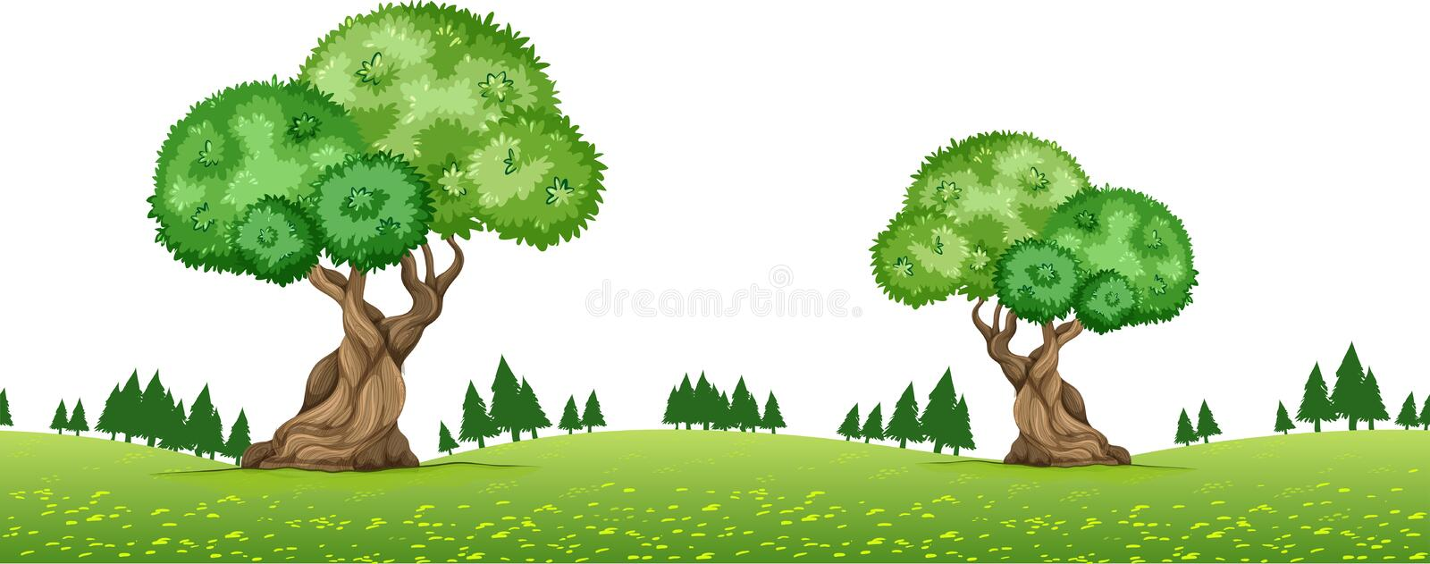 Nature scene with trees in the park vector illustration