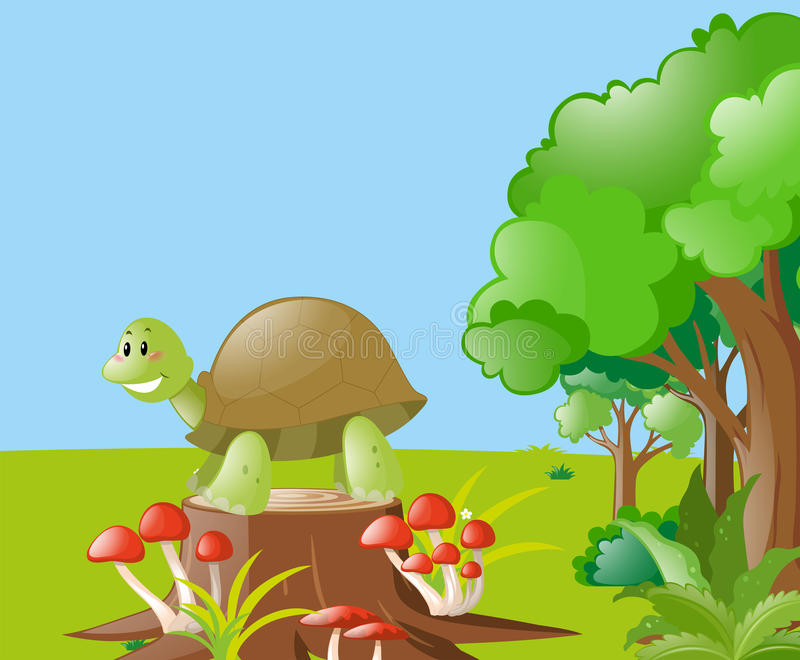 Nature scene with turtle on the log stock illustration