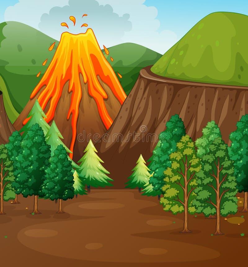 Nature scene with volcano eruption stock illustration