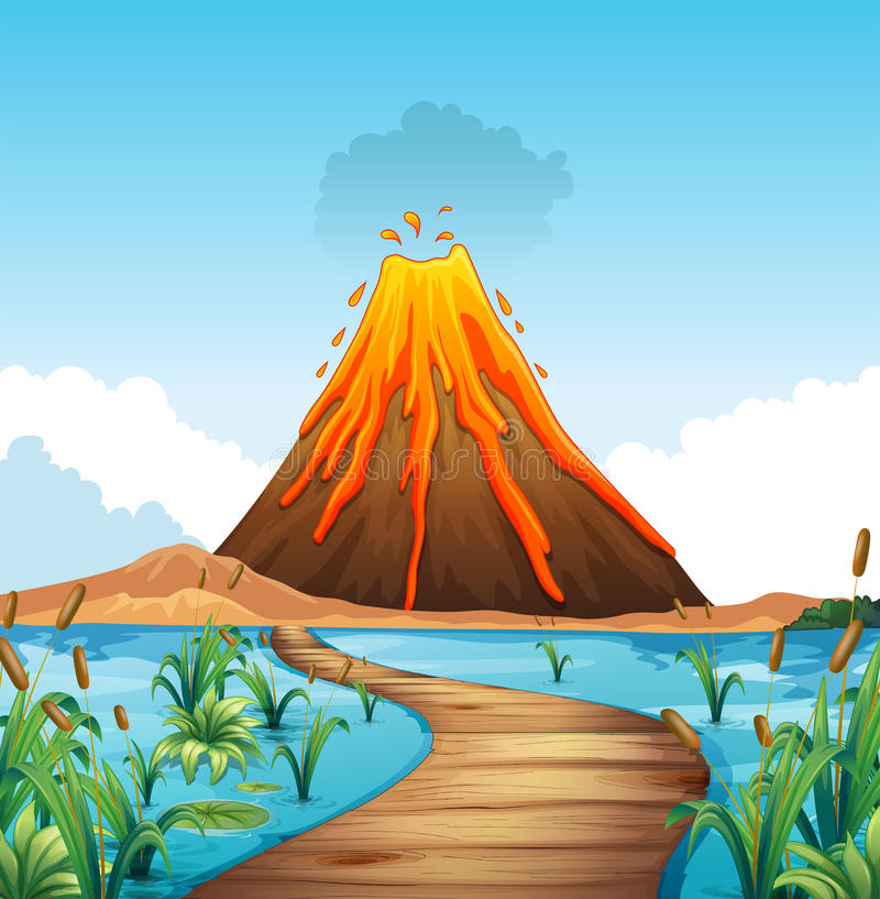 Nature scene with volcano eruption by the lake stock illustration