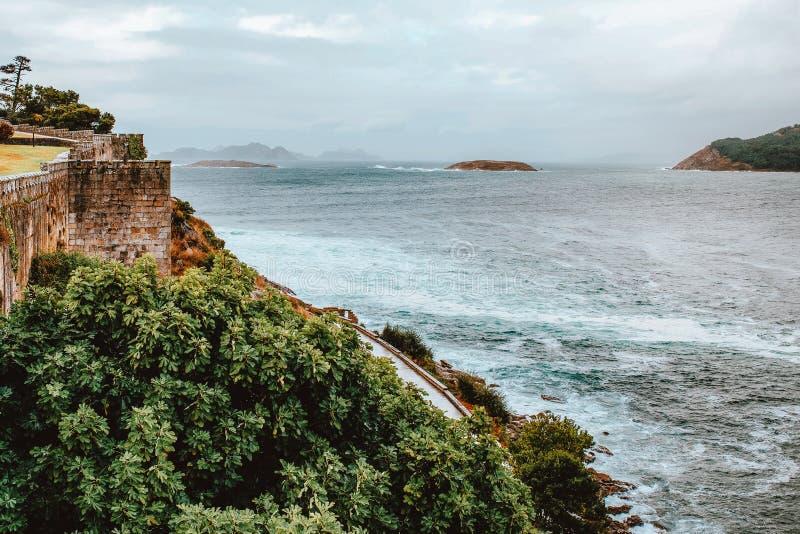 Nature and sea views from Parador de Baiona, Pontevedra, Spain. Nature and sea views from Parador de Baiona, Pontevedra, Galicia royalty free stock photo