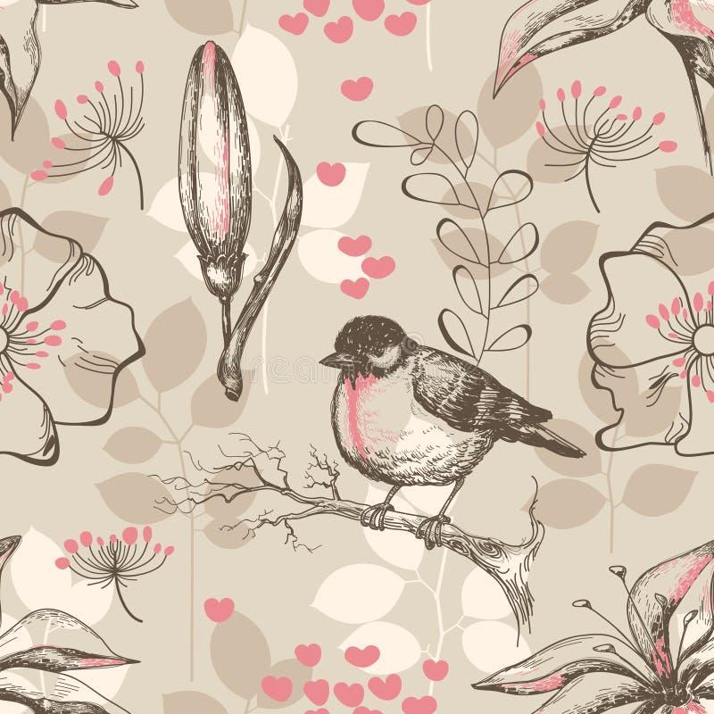 Nature seamless pattern stock illustration