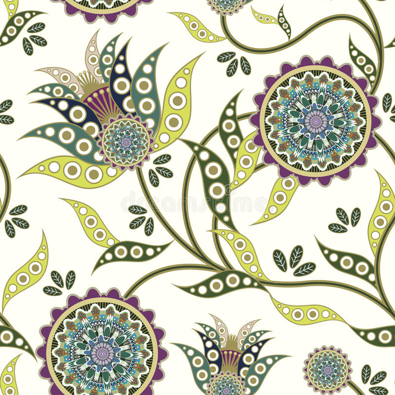 Nature seamless pattern in flower shape stock illustration