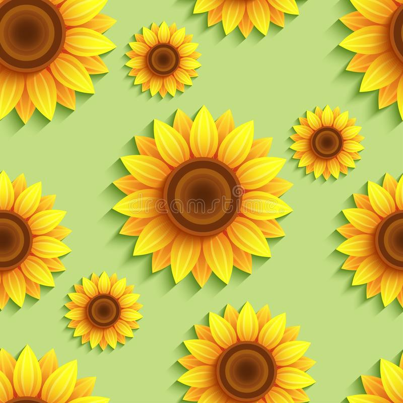 Free Nature Seamless Pattern With 3d Sunflowers Stock Image - 114286711
