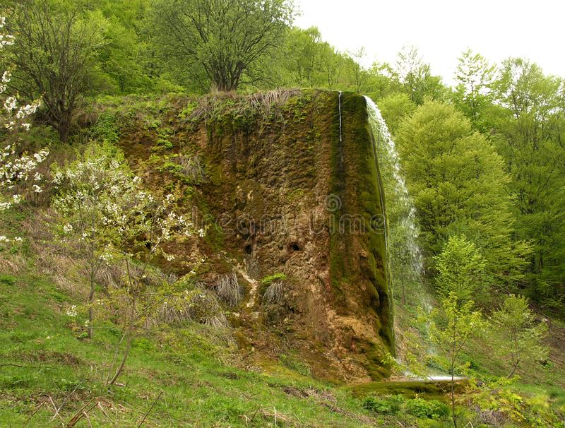 Wonderful view of the unique waterfall Prskalo. Nature of Serbia. Extraordinary, unusual waterfall in east Serbia stock photos