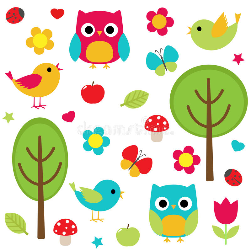 Nature set stock illustration