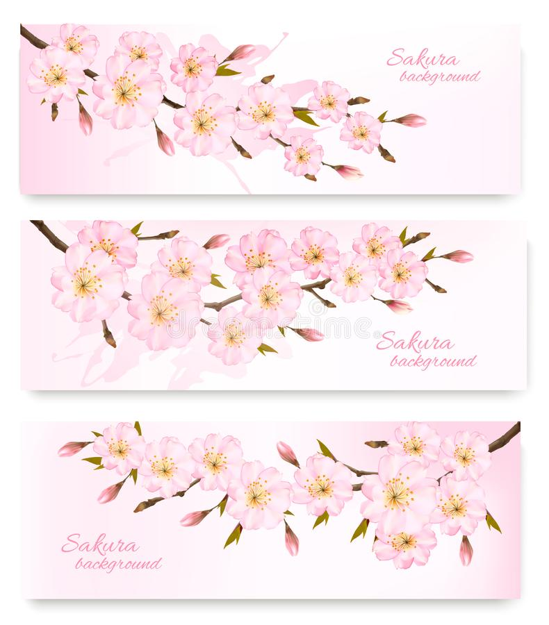 Nature spring banners with al pink sakura branches. vector illustration