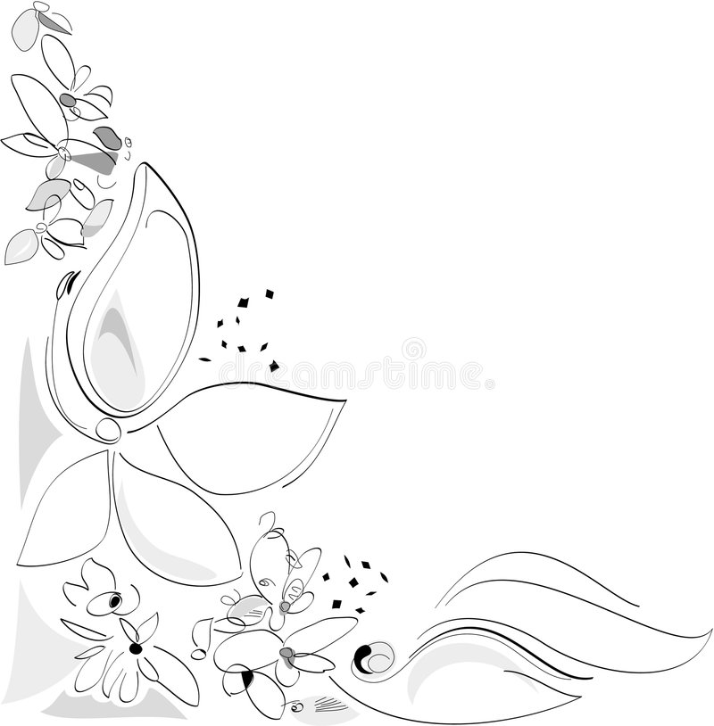Nature in Spring - Flowers. Corner composition. Black and white. Vector Artistic Illustration vector illustration