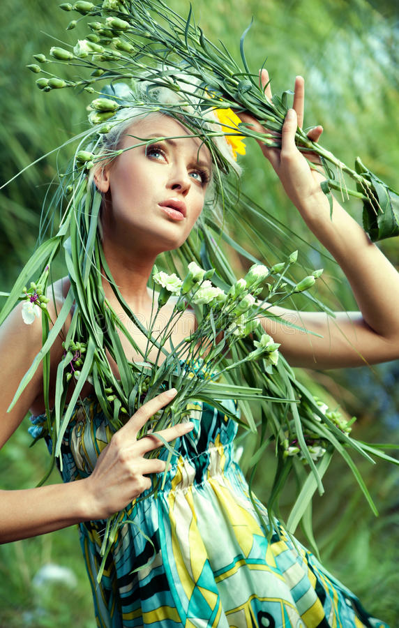 Nature-style portrait of a woman stock image