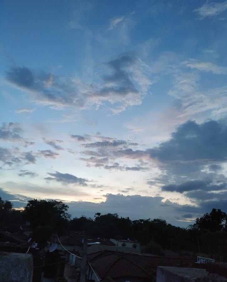 Nature sunset cloud indian village stock images