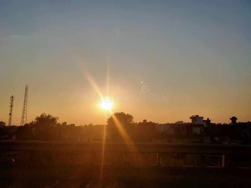 Nature Sunset Rising :& x29; Sourire Kurukshetra images libres de droits