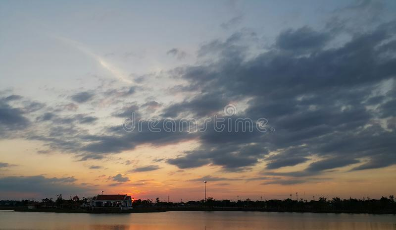 The nature of sunset sky over water landscape.  stock images