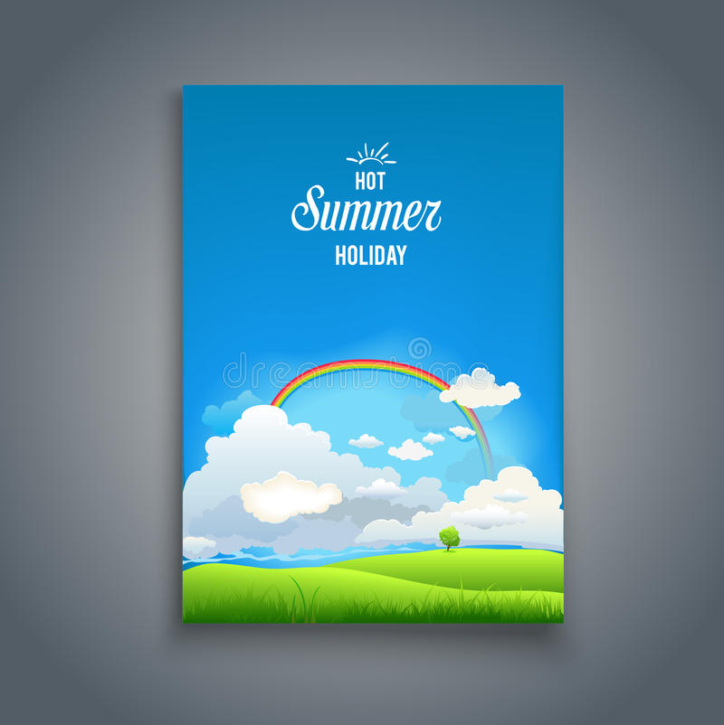 Nature template with raimbow. Summer card. Nature template for design banner, ticket, leaflet, card, poster and so on stock illustration