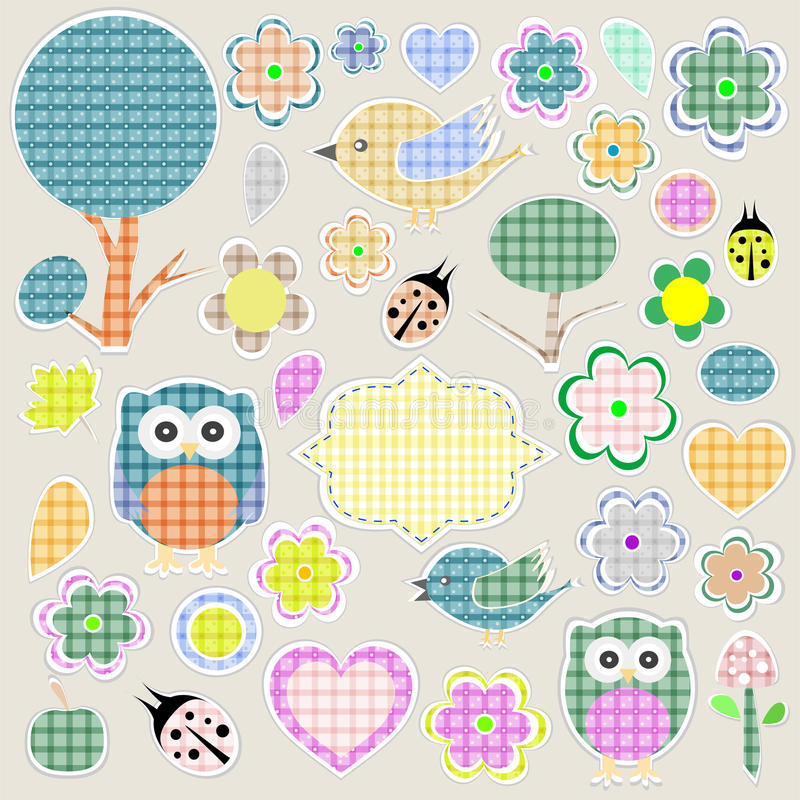 Download Nature Textile Stickers Set Stock Vector - Illustration: 23676250