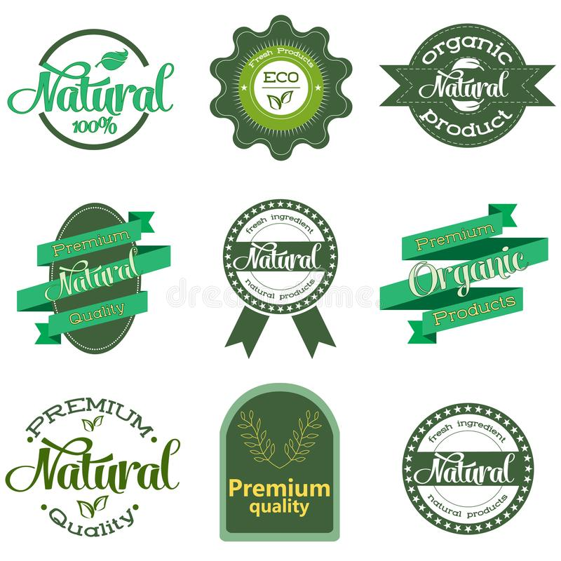 Nature-themed labels and badges with green leaves. Labels and badges for organic, natural, bio and eco friendly products stock illustration