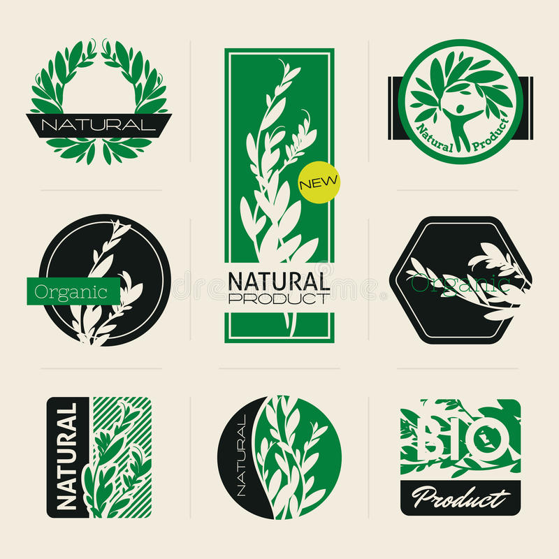 Nature-themed labels and banners with leaves stock illustration