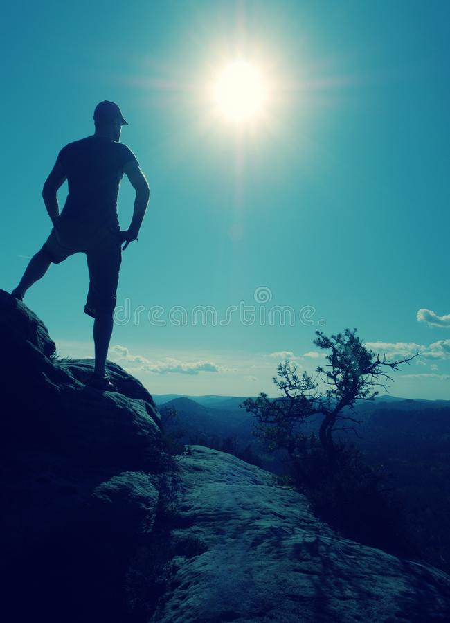 Nature trail runner in t-shirt and shorts watching lazy morning stock image
