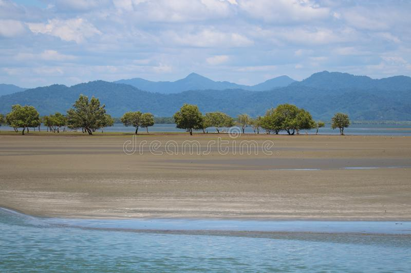 Nature tree symbol of Ranong landscape mountain and beach beautiful in nature background. Nature tree symbol of Ranong landscape with mountain and beach royalty free stock photo