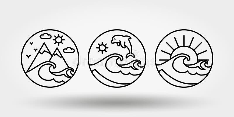Nature, vacation, camping. Set of icons, logos stock illustration