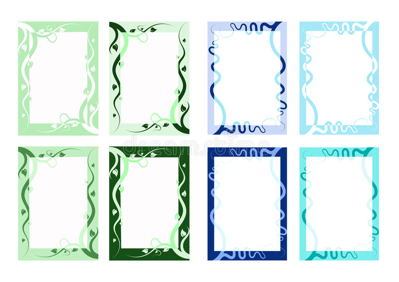 Nature Vector Border Variety. Abstract nature inspired Vector illustration borders one with vines and leaves the other with flowing rivers. Green and blue vector illustration