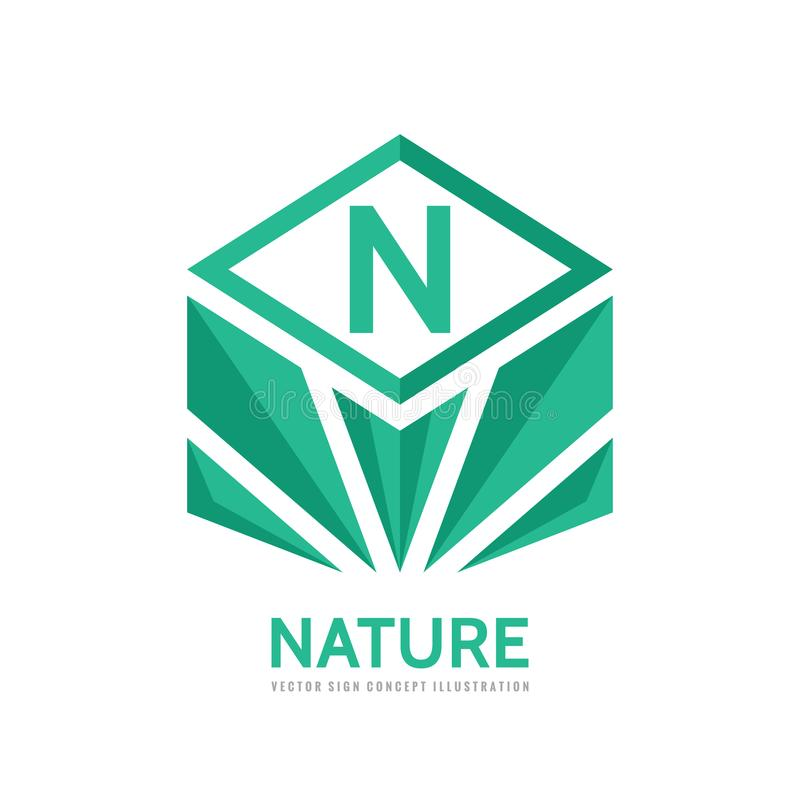 Nature - vector business concept illustration in flat style. Letter N creative sign. Green leaves geometric symbol. Ecology. stock illustration