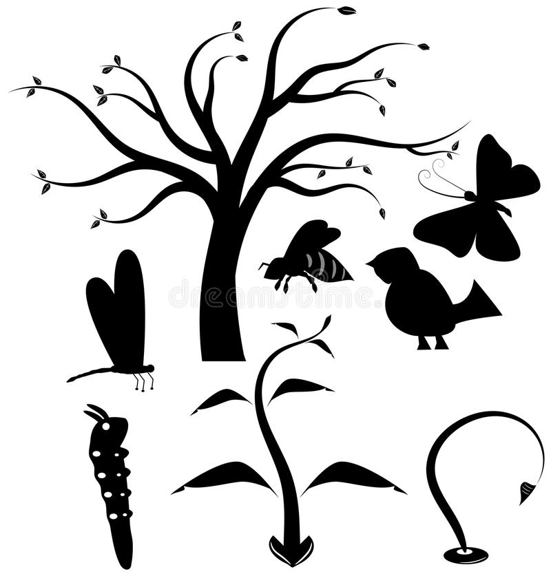 Download Nature vector icon set stock vector. Image of butterfly - 43548359