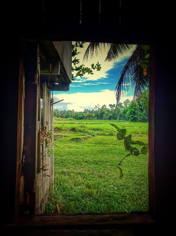 Free Nature View From A Window Of A Rural House Stock Image - 159526601
