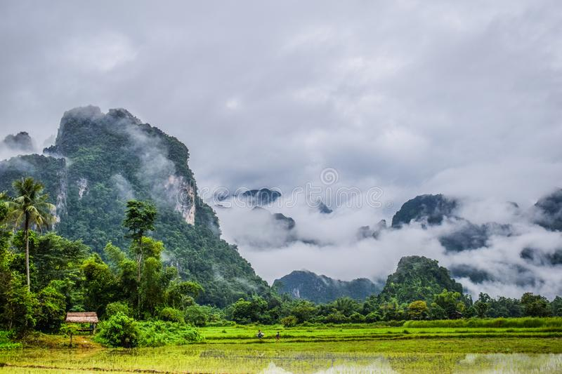 Good Morning at Vang Vieng, Laos. Nature View : Good Morning at Vieng Tara Villa, Vang Vieng, Laos : July 8, 2018 royalty free stock photography