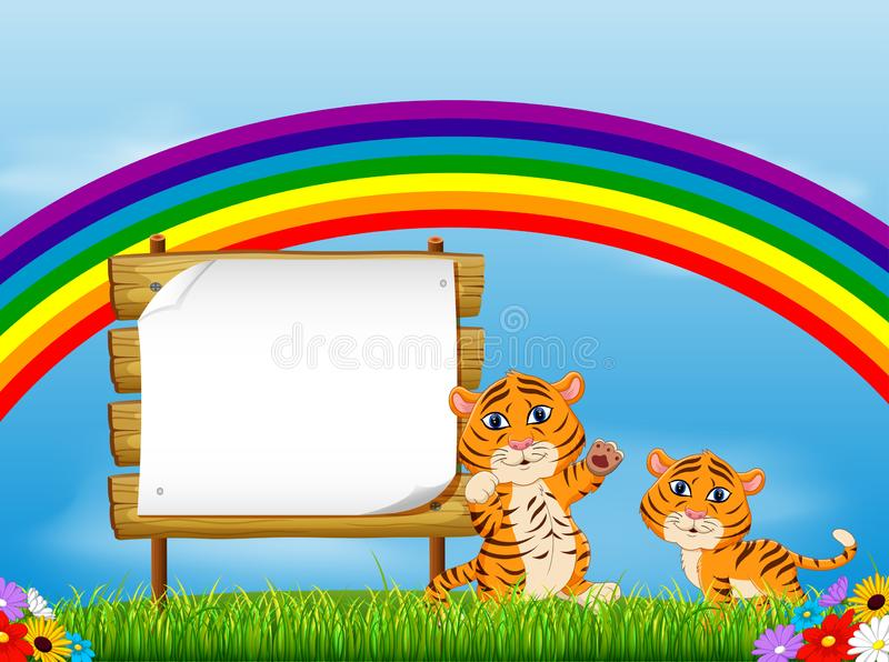 The nature view with the wooden board blank space and two baby tiger under the rainbow. Illustration of the nature view with the wooden board blank space and two vector illustration