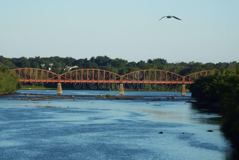 Nature VS Progress. Aiken Street Bridge (historic Lowell royalty free stock photography