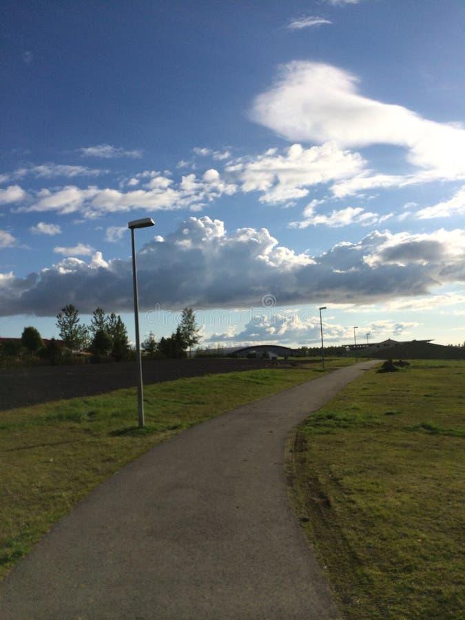 Nature walk. Walk around a park in Kopavogur Iceland royalty free stock images