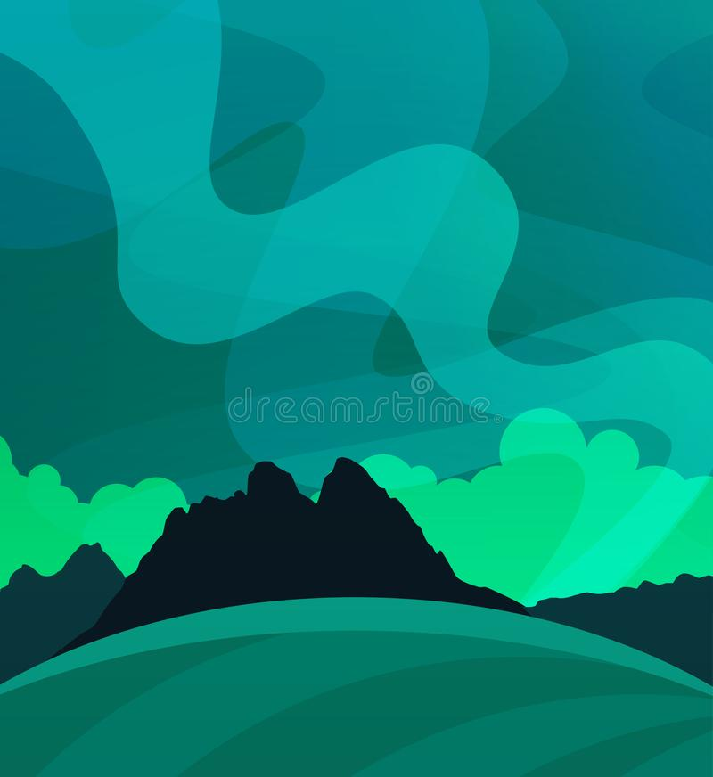 Nature Wallpaper with Northern Lights at Night, Illustration of Scandinavian polar Nature. Aurora Borealis vector landscape in vector. Nature Wallpaper with royalty free illustration