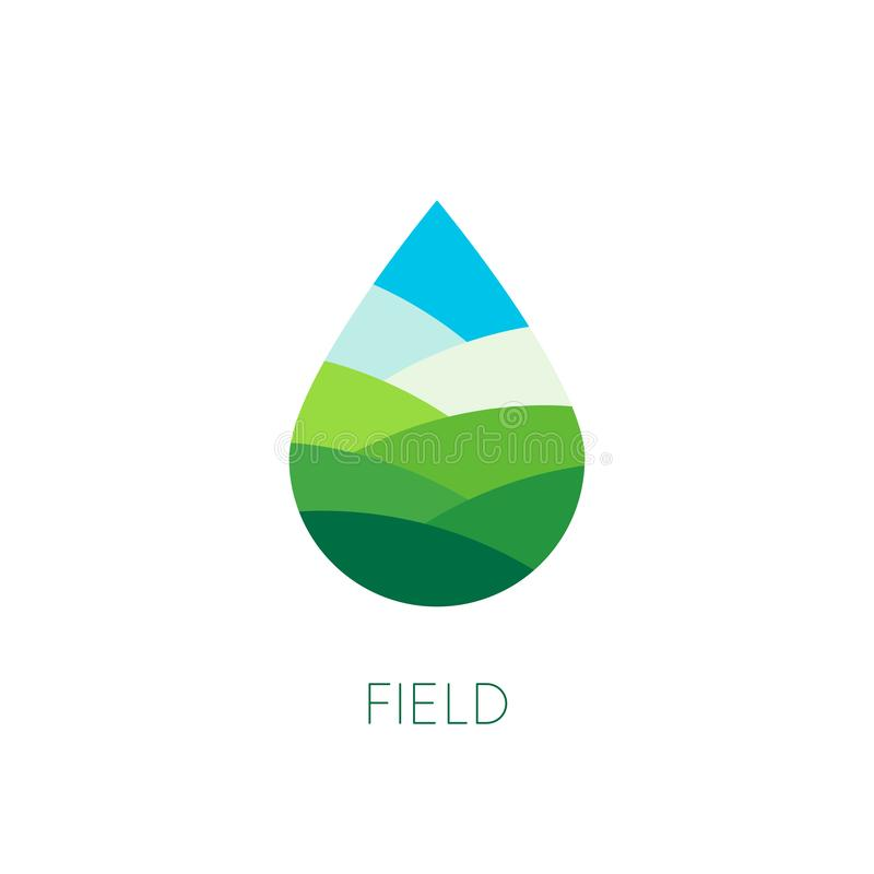 Nature water sign. Organic food and drink label. Farm stamp. Field logo template. Drop vector icon. Agriculture. Eco stock illustration