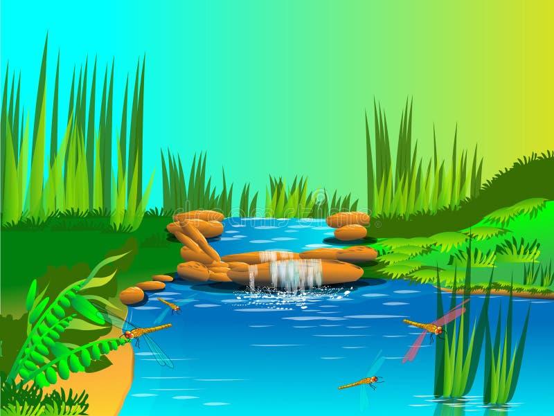 Nature and waterfall. Beautiful nature and waterfall royalty free illustration