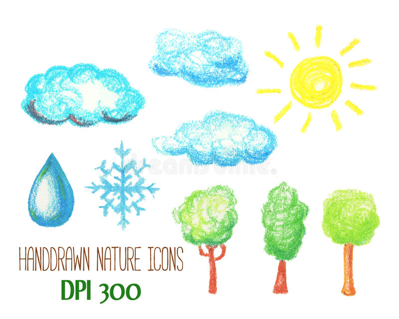 Nature and weather icons by pastel. Cloud, sun, tree, snowflake and water drop handdrawn illustration. stock illustration