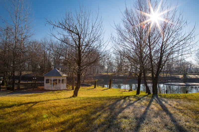 Nature in winter time, lake and arbour. Nature in winter time, lake and white elegant arbour royalty free stock photo