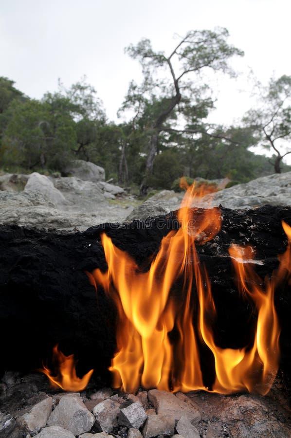 Nature wonder - fire on Mount Chimera stock photos