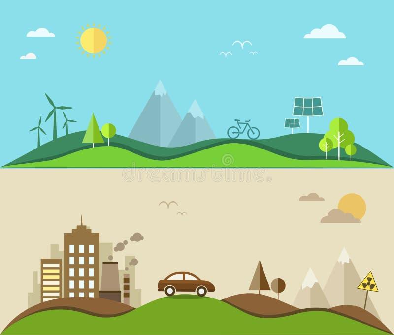 Natureinsparung und flache Illustration der Verschmutzung stock abbildung
