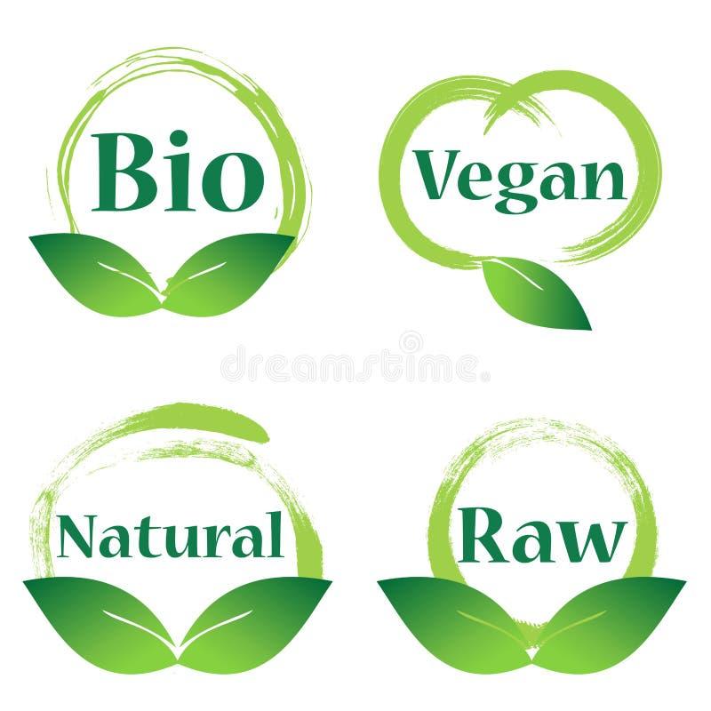Download Naturel, Vegan, Bio Insigne Illustration de Vecteur - Illustration du lame, logo: 77152744