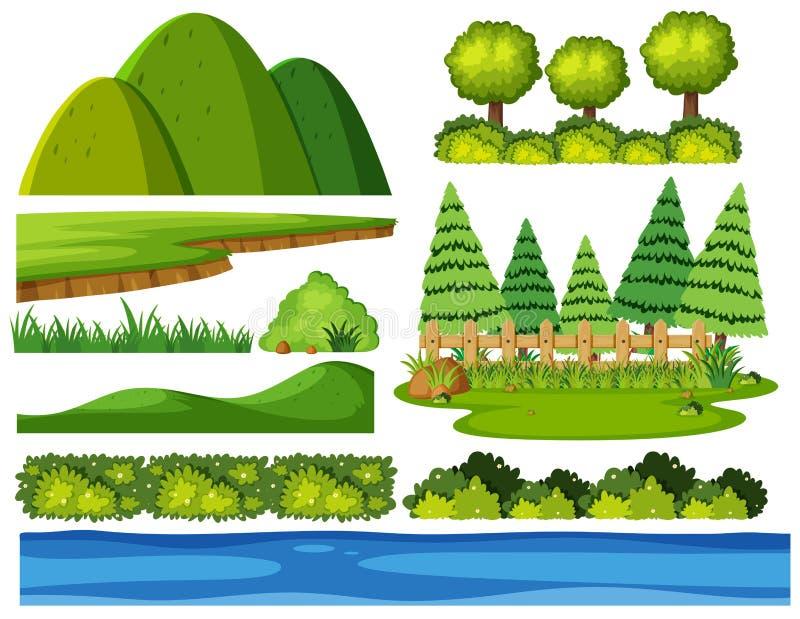 Naturelemente auf weißem Hintergrund lizenzfreie abbildung