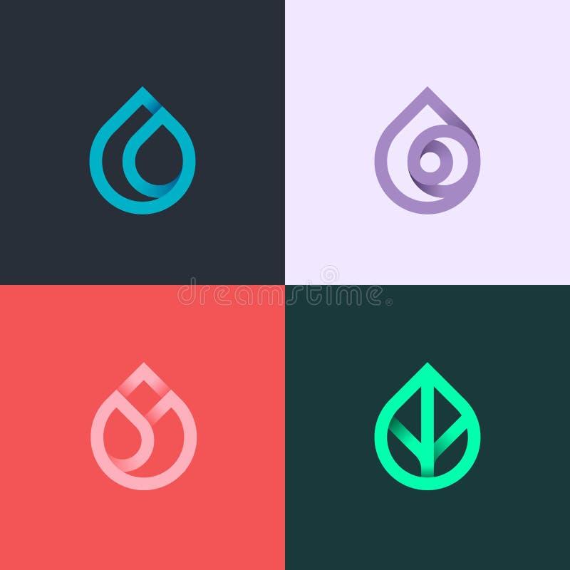 Naturelemente Wasser, Feuer, Erde, Luft Steigungslogo auf dunklem Hintergrund Alternative Energiequellenlinie Logo Eco Zeichen stock abbildung