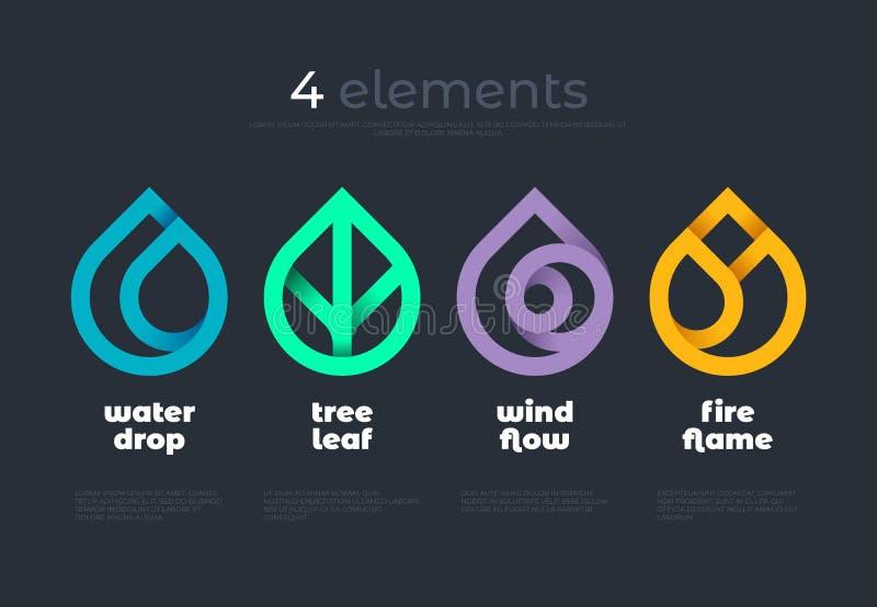 Naturelemente Wasser, Feuer, Erde, Luft Steigungslogo auf dunklem Hintergrund Alternative Energiequellenlinie Logo Eco Zeichen lizenzfreie abbildung
