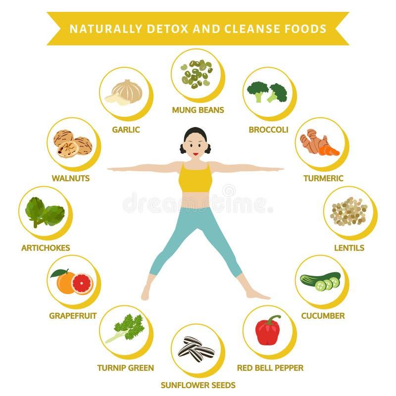 Naturellement le detox et nettoient des nourritures, nourriture plate graphique d'infos illustration libre de droits