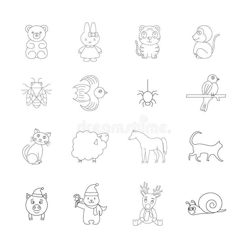 Naturen är fåglar och djur av symboler royaltyfri illustrationer