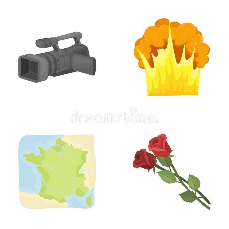 Naturen, affären, information och annan rengöringsduksymbol i tecknad film utformar ekologi filmkonst, feriesymboler i uppsättnin vektor illustrationer