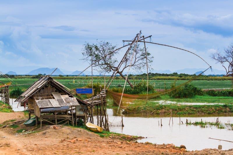 Naturen av den thailändska bondaktiga byn i atmosfären av fängelset arkivfoto