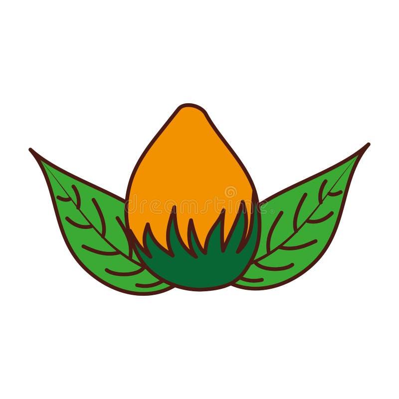 Naturen för blommakulan lämnar lövverkgarneringsymbolen stock illustrationer
