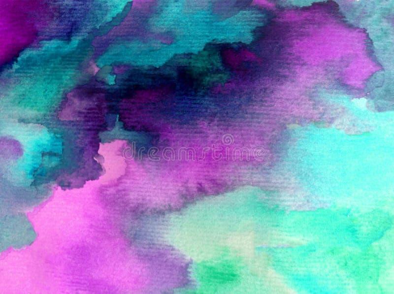 Naturen för vågen för havet för soluppgång för morgonen för himmel för bakgrund för vattenfärgkonstabstrakt begrepp texturerade d stock illustrationer